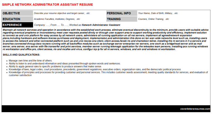 Network Administrator Assistant Resume Template (#955)