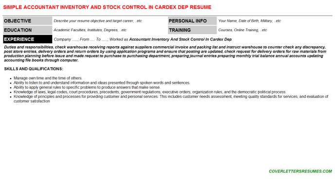 Accountant Inventory And Stock Control In Cardex Dep Cover Letter ...