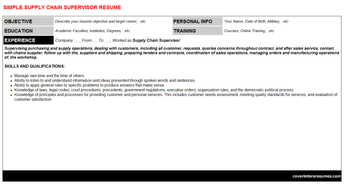 Supply Chain Supervisor Resume Template