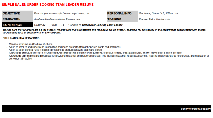 Sales Order Booking Team Leader Job Letter & Resume (#10961)