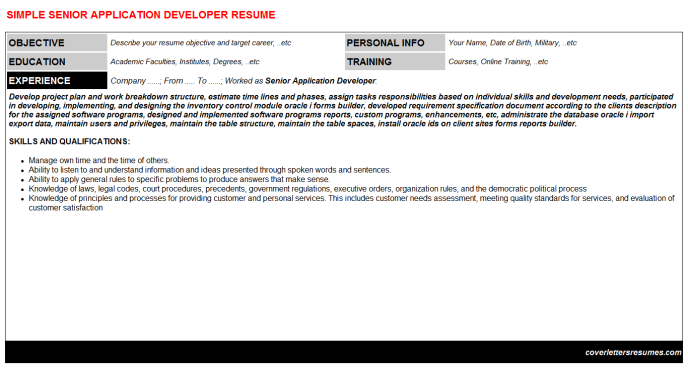Senior Application Developer Resume Template (#461)