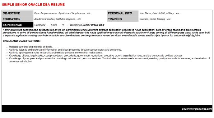 Senior Oracle Dba Resume Template