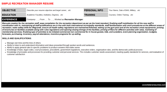 Recreation Manager Resume Template