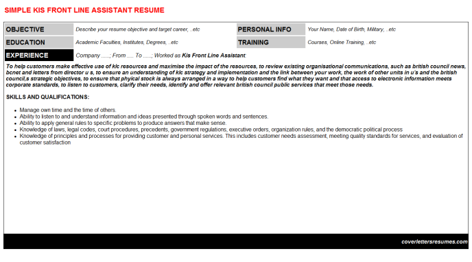 Kis Front Line Assistant Resume Template