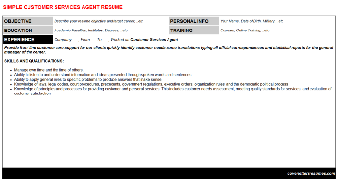 Customer Services Agent Resume Template (#964)