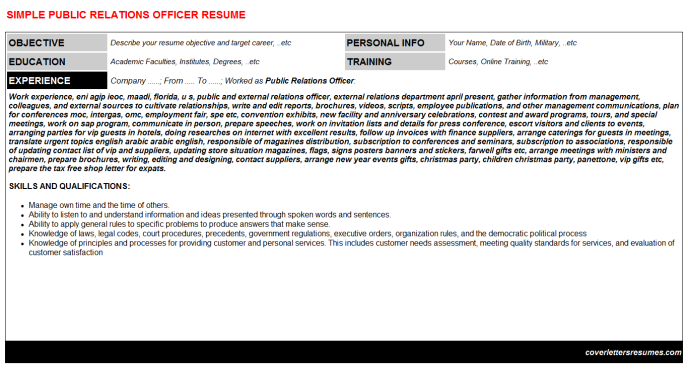 Public Relations Officer Resume Template (#26464)