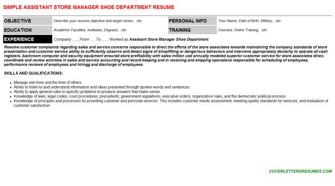 Assistant Store Manager Shoe Department Resume Template