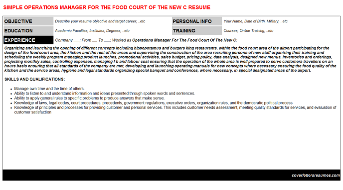 Operations Manager For The Food Court Of The New C Resume Template
