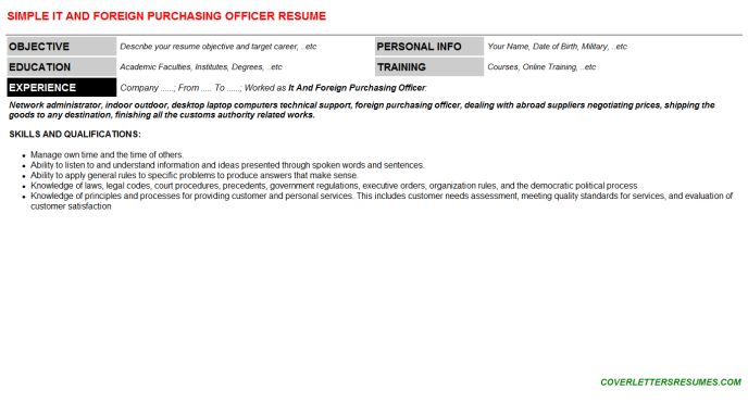 It And Foreign Purchasing Officer Resume Template (#465)