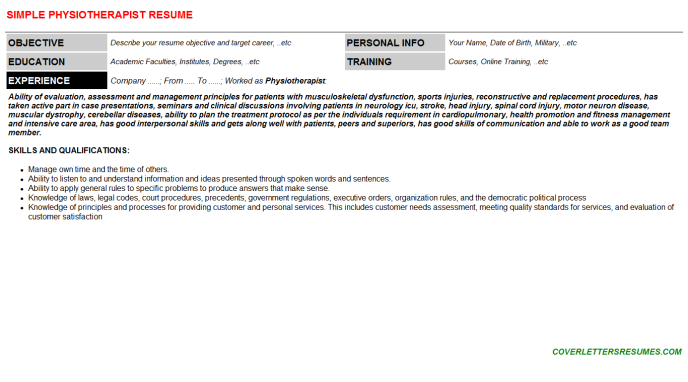 Physiotherapist Resume Template (#48965)