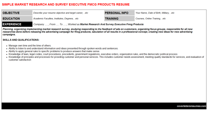 Market Research And Survey Executive Fmcg Products CV Cover ...