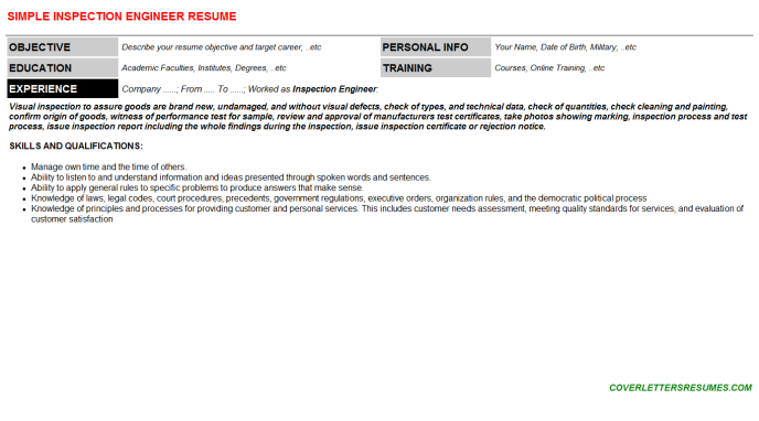 Inspection Engineer Resume Template (#42968)