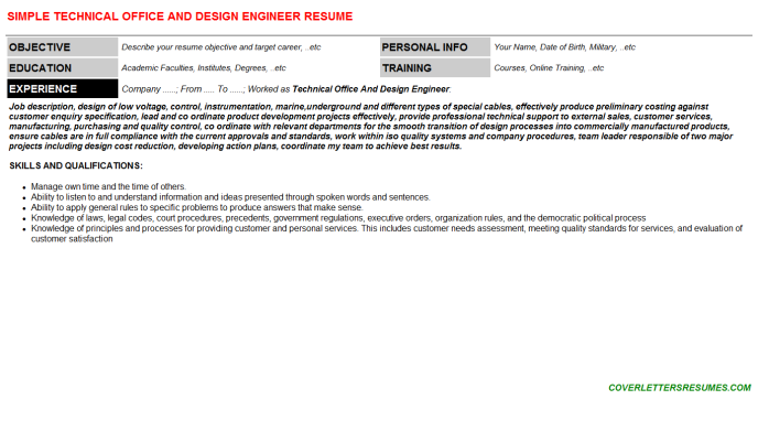 Technical Office And Design Engineer Resume Template