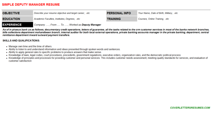 Deputy Manager Resume Template (#46)