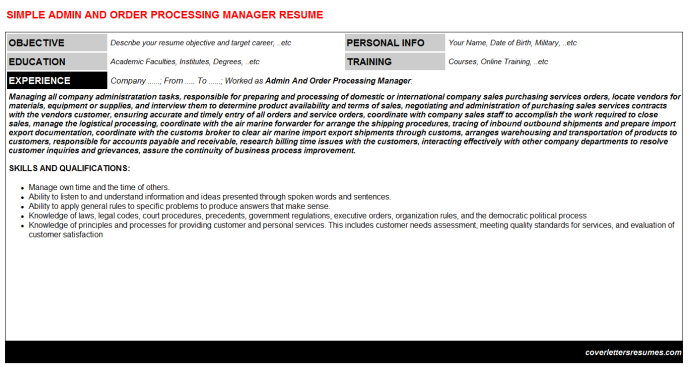 Admin And Order Processing Manager Resume Template