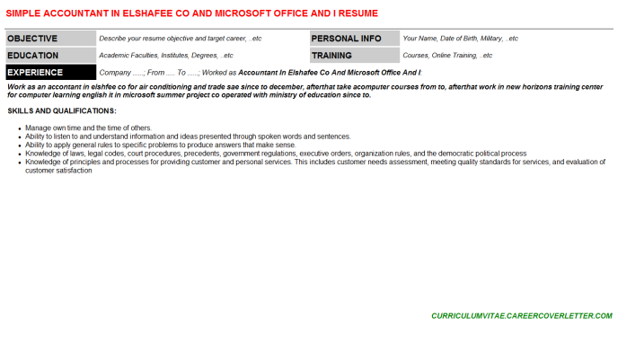 Accountant In Elshafee Co And Microsoft Office And I Resume Template (#76469)