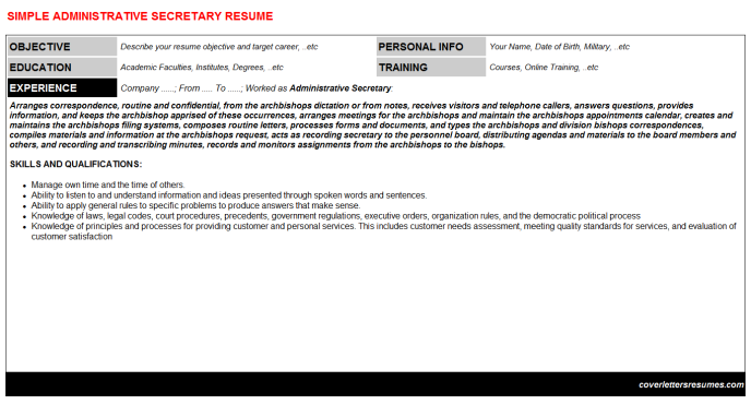 Administrative Secretary Resume Template (#60969)
