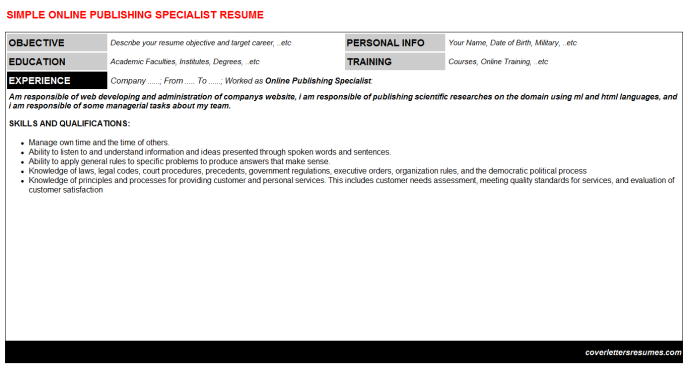 Online Publishing Specialist Resume Template