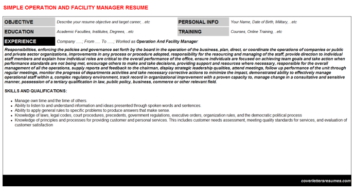 Operation And Facility Manager CV Cover Letter & Resume Template