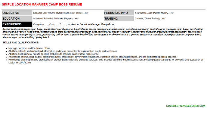 Location Manager Camp Boss Resume Template