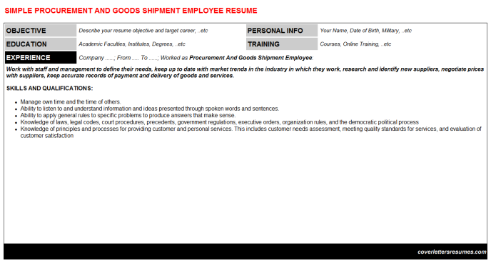 Procurement And Goods Shipment Employee Resume Template (#47975)