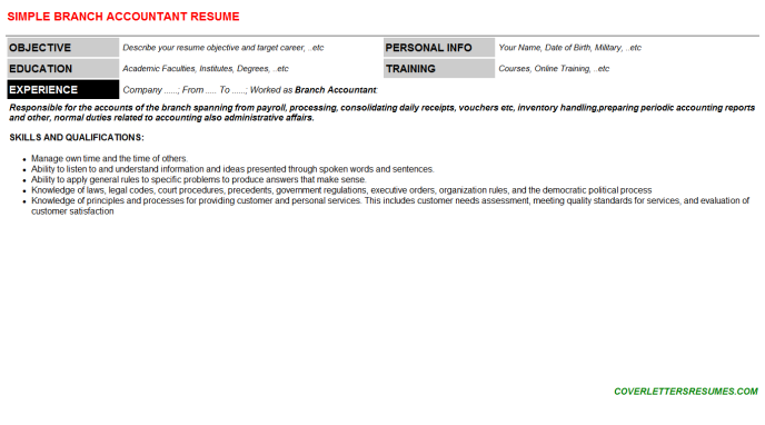 Branch Accountant Resume Template (#120476)