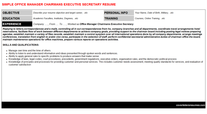 Office Manager Chairmans Executive Secretary Resume Template