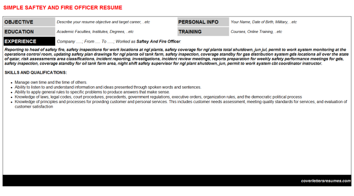 Saftey And Fire Officer Resume Template (#47)