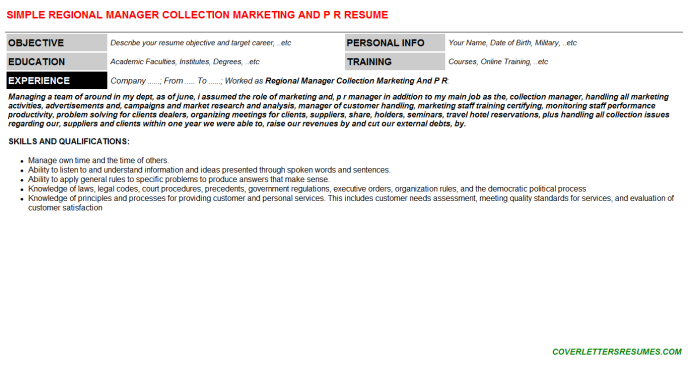 Regional Manager Collection Marketing And P R Resume Template