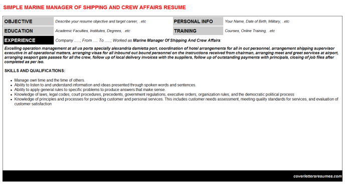 Marine Manager Of Shipping And Crew Affairs Resume Template (#26479)