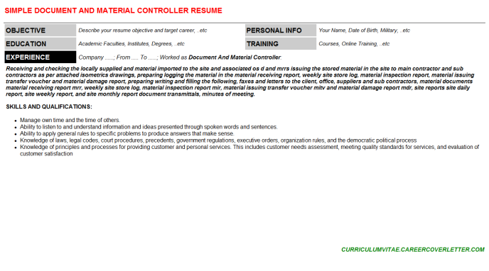 Document And Material Controller Resume Template