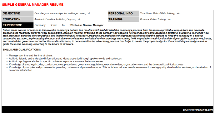 General Manager Resume Template (#58480)