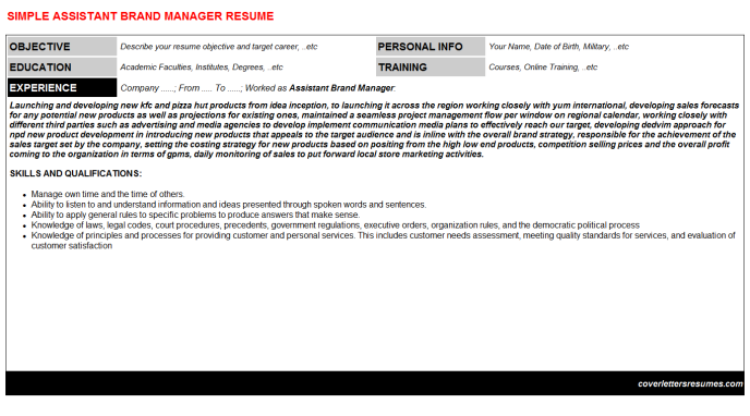 Assistant Brand Manager CV Cover Letter & Resume Template ...