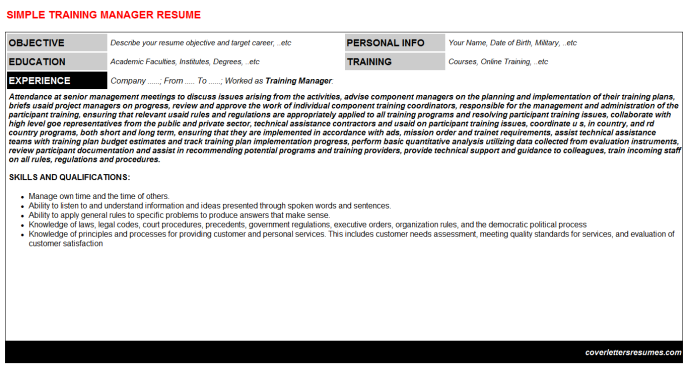 Training Manager Resume Template (#43482)