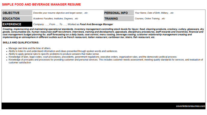 Food And Beverage Manager Resume Template