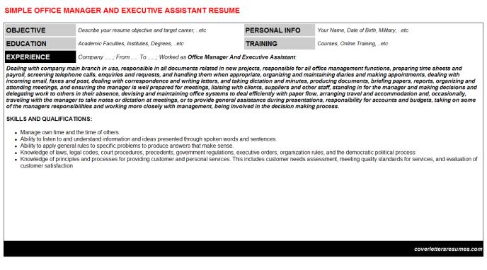 Office Manager And Executive Assistant Resume Template