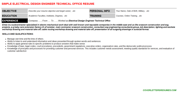 Electrical Design Engineer Technical Office Resume Template