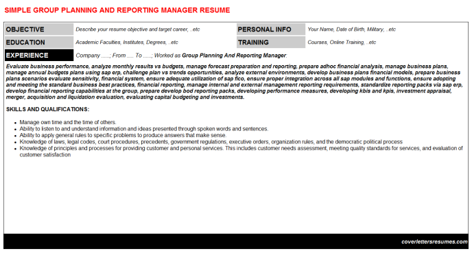 Group Planning And Reporting Manager Resume Template (#49485)