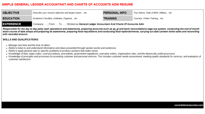 General Ledger Accountant And Charts Of Accounts Adm Resume Template (#36986)