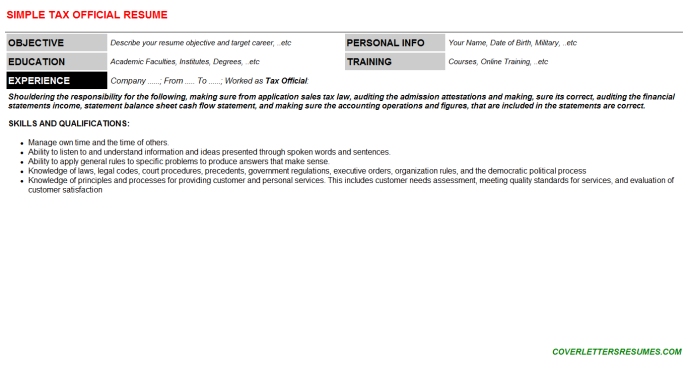 Tax Official Resume Template