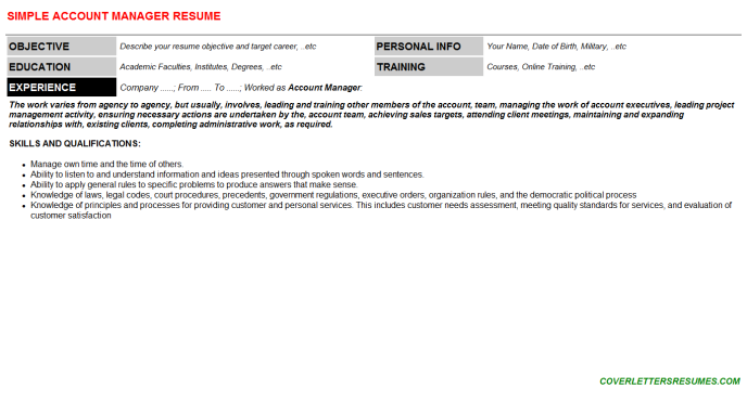 Account Manager Resume Template (#22987)