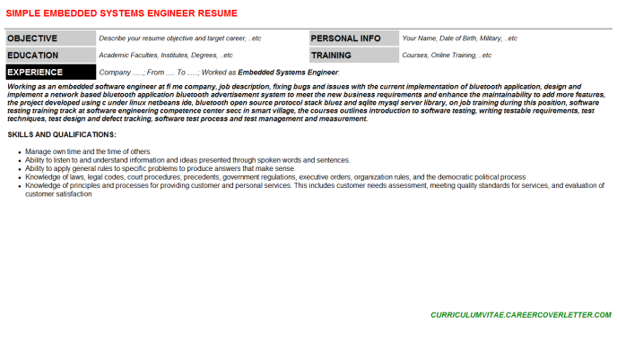 Embedded Systems Engineer CV Cover Letter & Resume Template | CV ...