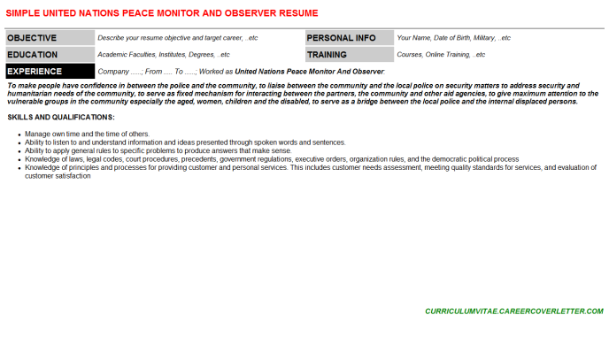 United Nations Peace Monitor And Observer CV Cover Letter ...