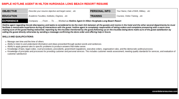 Hotline Agent In Hilton Hurghada Long Beach Resort Resume Template (#27991)