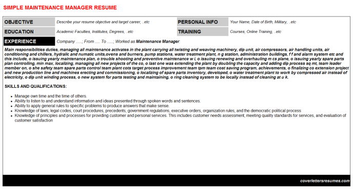 Maintenance Manager Resume Template (#9491)