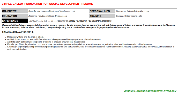 Baledy Foundation For Social Development Resume Template