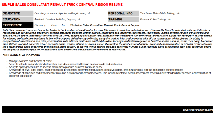 Sales Consultant Renault Truck Central Region Resume Template