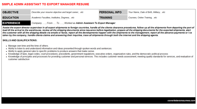 Admin Assistant To Export Manager Resume Template (#492)