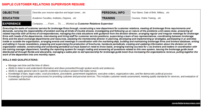 Customer Relations Supervisor Resume Template