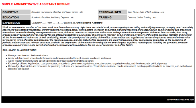 Administrative Assistant Resume Template (#493)